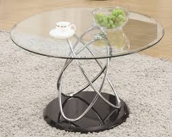 modern coffee tables living room frameless round glasetal coffee table with base stainless steel legs glossy black white rug beautiful design