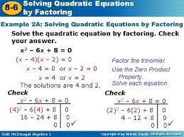 solving quadratic equations 8 6 by