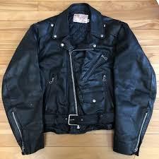 details about vintage excelled leather black motorcycle jacket sz 42 r vtg