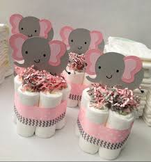 Baby Shower Centerpieces Four Pink Grey Elephant Mini Diaper Cakes Baby Shower Centerpiece