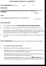 Service Agreement Samples Management Services Agreement Template