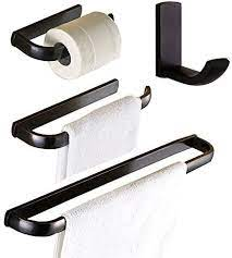 Amazon Com Wincase Oil Rubbed Bronze Bathroom Accessories Towel Bar Set 24 Inch Bronze Black Hardware 4 Pieces Orb Towel Rod Toilet Paper Holders Robe Hook Wall Mounted Kitchen Dining