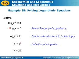 holt mcdougal algebra 2 7 5 exponential and logarithmic equations and inequalities solve