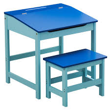 kids childrens wooden desk and chair school study retro lifting top child set in blue co uk toys