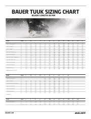 Bauer Runner Size Chart Tuuk Sizing Bauer Tuuk Sizing Chart Blade Length In Mm