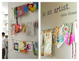 21 ways to display kids artwork hang them on a display wire