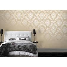 Pink Damask Wallpaper Bedroom Henderson Interiors Chelsea Glitter Damask Wallpaper Cream Gold