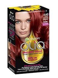 Olia Hair Color Chart Garnier Olia Bold Ammonia Free Permanent Hair Color Packaging May Vary 6 60 Light Intense Auburn Red Hair Dye Pack Of 1