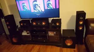 klipsch home theatre. klipsch 7.2 suroundsound speakers set up home theatre