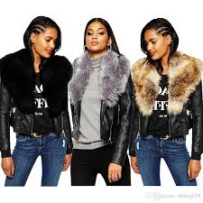 2019 new women faux fur shawl biker jacket long sleeve zipper leather jackets short coats winter black parka coats overcoat cje1002 from hhwq105