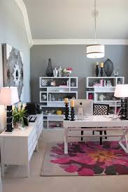 pink home office. Gray Transitional Home Office With Pink Accents