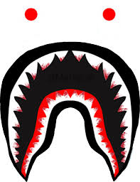 bloody bape logo teeth shark supreme bathingape memezas...
