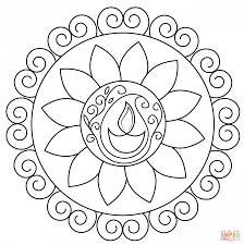 Coloring Diwali Lamp Coloring Pages Happy