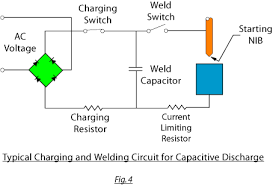 resistance and percussive arc welding in diodes capacitors power a typical circuit is shown in figure 4 below the capacitor s is charged by direct current from a rectifier or generator this welding energy is stored