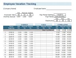 Employee Vacation Tracking Template Meylah