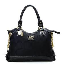 Coach Legacy Pinnacle Lowell In Signature Large Black Satchels ADU Outlet  Online