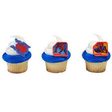 24 Spiderman Spider Man Homecoming Cupcake Cake Rings Birthday Party