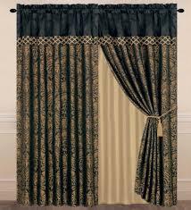 com chezmoi collection lisbon 4 piece jacquard fl window curtain set sheer backing tassels valance black gold home kitchen