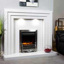 contemporary marble fireplace shown in a polare white marble and an inset celsi xd caress electric