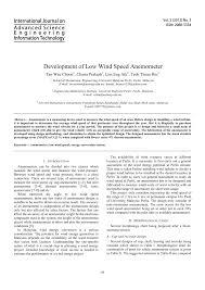 Pdf Development Of Low Wind Speed Anemometer