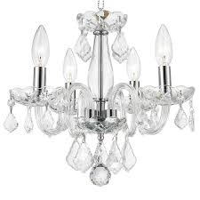 worldwide lighting clarion 16 in 4 light polished chrome crystal candle chandelier
