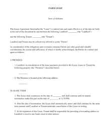 A residential lease agreement should be used when leasing any kind of livable property to a tenant which may include a house, apartment, room, condo, mobile home or some other type of habitable property. Farm Lease Template Online Sample Word Pdf