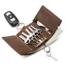teemzone leather key case holder pocket key wallet mini key ring bag brown ca shoes handbags
