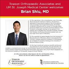 Please welcome Brian Shiu,... - Towson Orthopaedic Associates ...