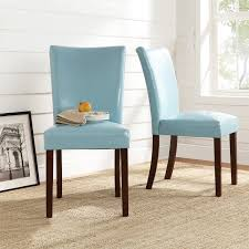 add a little flair to your dining room or seating area with these sky blue parson chairs instantly update your e with these poplar wood and faux
