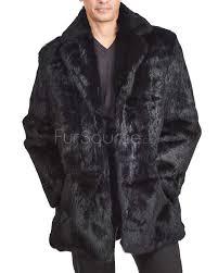 horizon black men s genuine rabbit fur coat