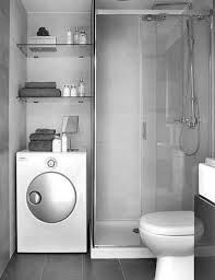 Popular Small Space Modern Grey Bathrooms With Washing Machine Shelves  Cabinets Also Small Vanity Added Walk In Shower Ideas
