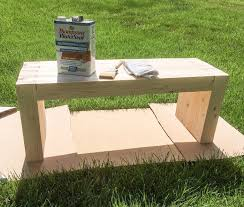step seven use your stain to paint your diy bench applying stain is relatively easy you can use a brush paint it on then wipe it off
