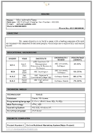 Sample Resume For Mba Fresher Fresher Resume Format Doc Unique