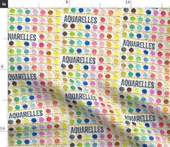 Watercolor Palette Chart Fabric By The Yard Aquarelles Watercolor Paint Journal Color Chart Palette Sketchbook French Text Typography Circles Dots