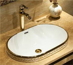 oval bathroom sink with overflow