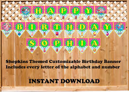 Shopkins Themed Customizable Birthday Banner Cre8ivedesign