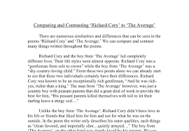 comparing and contrasting richard cory to the  document image preview