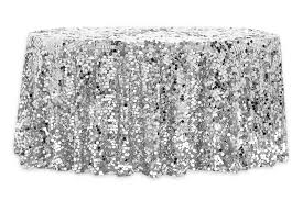 large payette sequin 132 round tablecloth silver