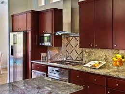 Kitchen With Granite Countertops And Brown Wall Cabinets
