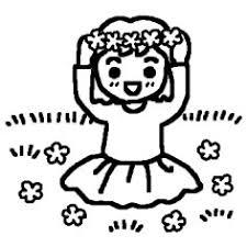 花のかんむり白黒春の野原の無料イラストミニカットクリップアート素材