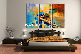 Paintings For Bedroom Decor 3 Piece Boat Ocean Oil Paintings Yellow Artwork
