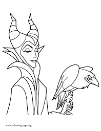 Small Picture Maleficent Maleficent and his pet raven coloring page