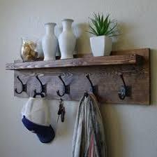 Vintage Coat Rack With Shelf Coat Rack with Floating Shelf Wall mounted coat rack Rustic walls 80
