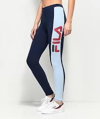 fila leggings. fila side stripe navy \u0026 light blue leggings fila