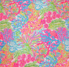 Lilly Pulitzer Fabric 2016 Lilly Pulitzer Dobby Cotton Fabric Multi Lovers Coral 27 X