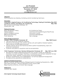 Remarkable Resume Objective Hvac Technician With Cover Letter For