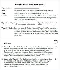 Meeting Agenda Sample Example Committee Team Templates Download ...