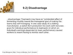 Disadvantages Of Teamwork Team Work Slide