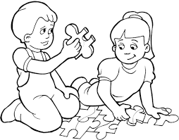 Small Picture Kids Playing Games Puzzle Coloring Page Kids Coloring Pages