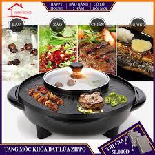 Bếp lẩu nướng đa năng hình tròn, 2 trong 1 lẩu và nướng trong cùng 1 sản  phẩm, tiết kiệm diện tích, thuận tiện sử dụng - Nồi lẩu điện Nhãn hàng